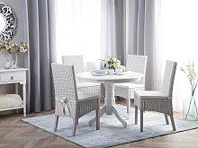 Dining Table White Rubberwood ø 100 cm Round