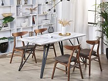 Dining Table White with Black MDF Top Metal Legs
