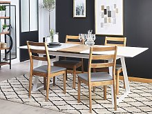 Dining Table White with Dark Wood 160 x 90 cm