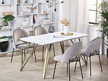Dining Table White with Gold MDF Top Metal Legs