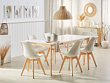 Dining Table White with Light Wood MDF Rubberwood