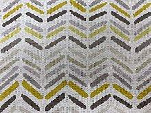 Dinky Chevron Grey/Yellow Cotton 140cm Curtain