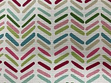 Dinky Chevron Pink/Aqua Cotton 140cm Curtain