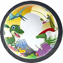Dinosaur Cartoon with Landscape Cabinet Dresser