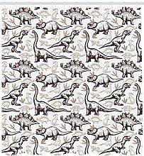 Dinosaur Shower Curtain Reptiles Footprints Print