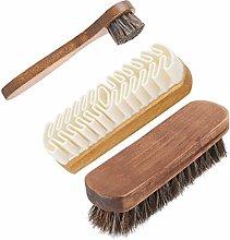 Dirgee 3pcs Shoe Brush Set Shoe Boot Shine Polish