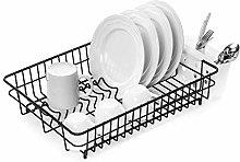 Dish Drainer & Plate Rack. Large Black Rinse