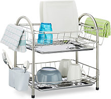 Dish Drainer with 2 Tiers, Cutlery Holder, Dish