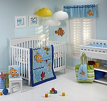 Disney Nemo Wavy Days 4 Piece Crib Bedding Set by