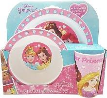 Disney Princess 3 Piece Tableware Dinner Set - Pink