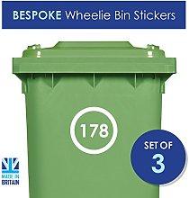 Displaypro 3 x Wheelie Bin Number Stickers Custom