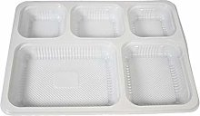Disposable White Plastic 5 Section Compartment