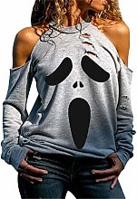 Distressed Halloween Ghost Tops for Women,Skeleton