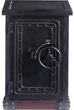 Distressed wood safe cabinet in black W 53cm