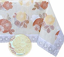 DITAO Square Vinyl Lace Tablecloth Waterproof Wipe