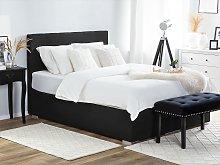 Divan Bed Black Fabric Upholstery EU King Size