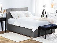 Divan Bed Grey Fabric Upholstery EU King Size 5ft3
