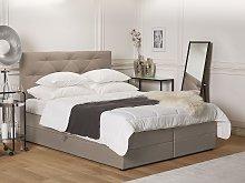 Divan Bed Light Brown Fabric Upholstery EU King
