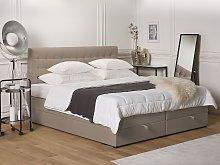 Divan Bed Light Brown Fabric Upholstery EU Super