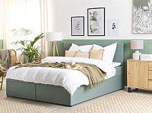 Divan Bed Light Green Fabric Upholstery EU King