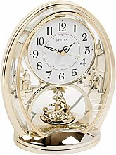 DIW Rhythm Gold Gilt Mantel Clock Oval Rotating