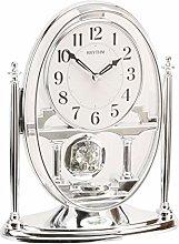 DIW Rhythm Silver Mantel Clock w Crystal Pendulum