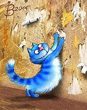 DIY 5D Diamond Painting Kits Blue Cat Full Drill