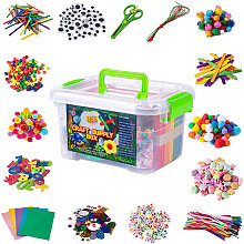DIY Arts and Crafts Supplies Kit 2000+ Pieces Set Activity Craft Materials with Carrying Box Handmade Educational Gift for Students School Kindergarten Home Craft Art Supplies,model:Multicolor