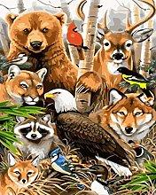 DIY Number Painting Drawing Canvas Animal Kingdom