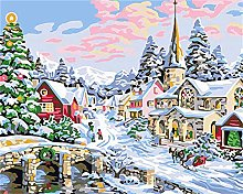 DIY Number Painting Drawing Canvas Christmas House
