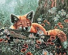 DIY Number Painting Drawing Canvas Lazy Fox for