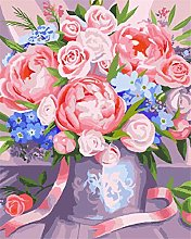 DIY Number Painting Drawing Canvas Pink Rose Bud