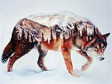 DIY Number Painting Drawing Canvas Snow Wolf for