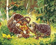 DIY Oil Painting Bamboo Basket Hedgehog - Painting