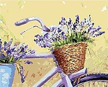 DIY Oil Painting Bicycle Flower Basket - Painting