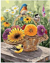 DIY Oil Painting Flower Basket and Bird - Painting