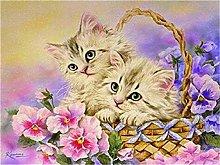 DIY Oil Painting Kitten in Basket - Painting