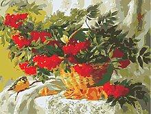 DIY Oil Painting Red Fruit Basket - Painting