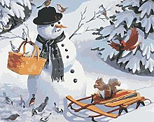 DIY Oil Painting Snowman Carrying Basket -