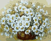 DIY Oil Painting White Daisy Basket - Painting