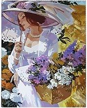 DIY Oil Painting Woman Holding Flower Basket -