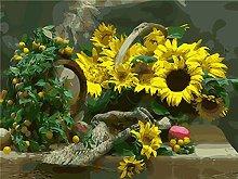 DIY Oil Painting Yellow Sun Flower Basket -