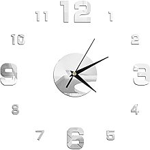 DIY Wall Clock,Mirror Wall Stickers Creative 3D