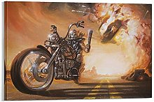 DJNGN Biker Canvas Art Poster and Wall Art Picture