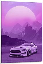 DJNGN Car Synthwave Canvas Art Poster and Wall Art