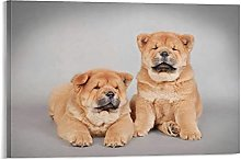 DJNGN Chow Chow Puppies Canvas Art Poster and Wall