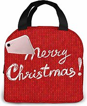 DJNGN Christmas with Text On Red Knitted Lunch