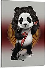 DJNGN Heavy Metal Panda Canvas Art Poster and Wall