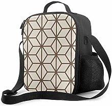 DJNGN Leakproof Lunch Bag Tote Bag,Brown and Beige