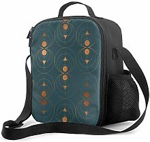 DJNGN Leakproof Lunch Bag Tote Bag,Copper Art Deco